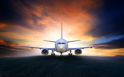 passenger aircraft, runway, air travel, airport