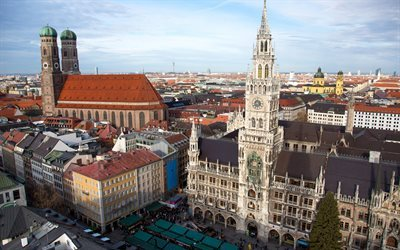 New Town Hall, Munich, city center, Germany, urban panorama, Marienplatz