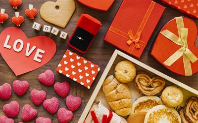 Valentines Day, example of a romantic breakfast, cookies, hearts, gifts, marriage offer, engagement ring