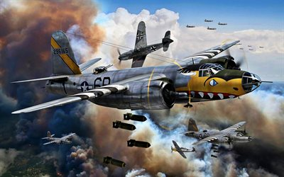 Martin B-26 Marauder, B-26B, Messerschmitt Bf109, Bf-109, Luftwaff, USAAF, World War II, military aircraft