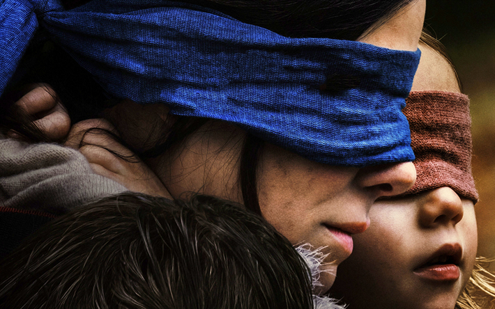 Bird Box, 4k, poster, 2018 movie, Malorie, Sandra Bullock