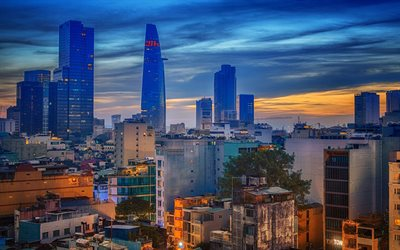 Saigon, Ho Chi Minh City, Vietnam, evening, sunset, skyscrapers, business centers, city lights