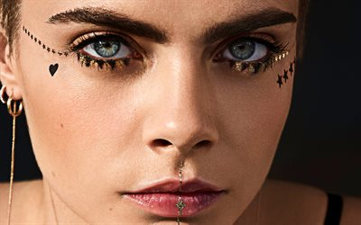 Cara Delevingne, 4k, Rimel, 2019, makeup, Hollywood, american celebrity, superstars, movie stars, british actress, Cara Delevingne photoshoot, supermodels