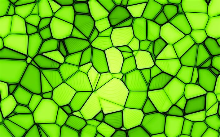 Indir Duvar Kağıdı Yeşil Mozaik 4k Sanat Mozaik Doku Yeşil Arka