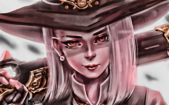 Ashe, portrait, Overwatch characters, cyber warrior, artwork, girl in hat, Overwatch