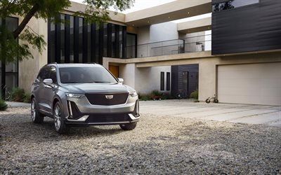 Cadillac XT6, 2019, silver crossover, front view, exterior, new silver XT6, american cars, Cadillac