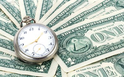time is money, watches, american dollars, finance concepts, money, dollars, old pocket watches