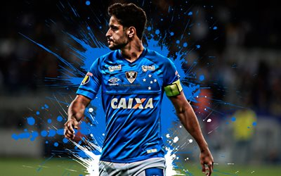 Leo, 4k, Brazilian football player, Cruzeiro, Defender, blue white paint splashes, creative art, Serie A, Brazil, football, grunge, Leonardo Renan Simoes de Lacerda, Cruzeiro Esporte Clube