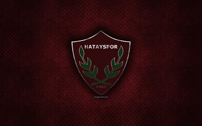 Hatayspor, Turkish football club, red metal texture, metal logo, emblem, Antakye, Hatay, Turkey, TFF First League, 1 Lig, creative art, football