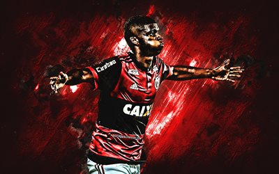 Lincoln, Flamengo, striker, red stone, portrait, famous footballers football, Brazilian footballers, grunge, Serie A, Brazil, Lincoln Correa dos Santos