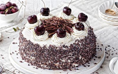 chocolate cake with cherries, chocolate dessert, cake, cherries, cream cake with cherries