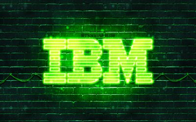 IBM green logo, 4k, green brickwall, IBM logo, brands, IBM neon logo, IBM