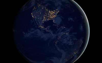 Earth, view from space, North America, South America, continents, USA at night from space, Canada at night from space, Brazil at night from space, Earth at night, city lights