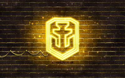 World of Warships yellow logo, WoWS, 4k, yellow brickwall, World of Warships logo, World of Warships neon logo, World of Warships, WoWS logo