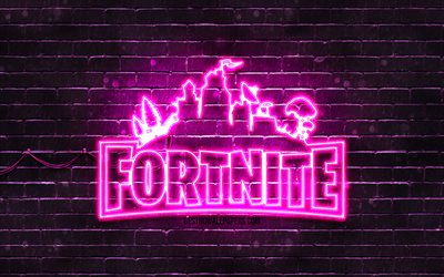 Fortnite purple logo, 4k, purple brickwall, Fortnite logo, 2020 games, Fortnite neon logo, Fortnite