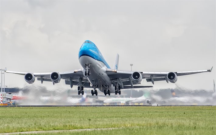 Boeing 747, passenger plane, airplane take off, airport, passenger airliner, air travel concepts, KLM, Boeing 747-400, take off plane, Boeing