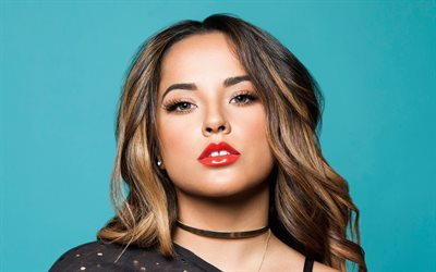 Becky G, Rebbeca Marie Gomez, american singer, portrait, photoshoot, black dress, american star