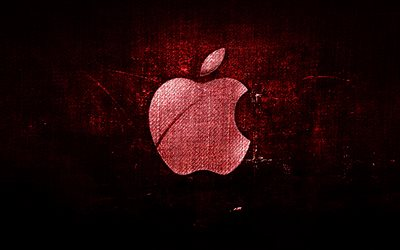 Apple red logo, red fabric background, Apple, creative, Apple denim logo, grunge art, Apple logo