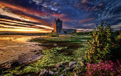 Dunguaire Castle, 4k, sunset, HDR, Galway Bay, Ireland, Great Britain, Irish landmarks, Europe