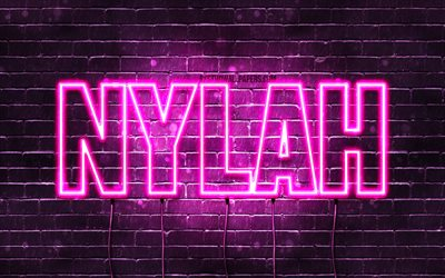 Nylah, 4k, wallpapers with names, female names, Nylah name, purple neon lights, horizontal text, picture with Nylah name