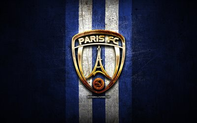 Paris FC, kultainen logo, League 2, sininen metalli tausta, jalkapallo, FC Paris, ranskan football club, FC Paris-logo, Ranska