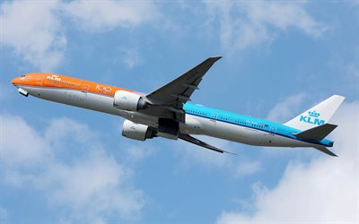 Boeing 777-300ER, passenger plane, KLM Orange Livery, KLM, Boeing 777, air travel, airplane in the sky, passenger airliner, Boeing
