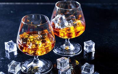brandy with ice, ice cubes, brandy glasses, cognac, brandy, glasses on the table