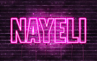 Nayeli, 4k, wallpapers with names, female names, Nayeli name, purple neon lights, horizontal text, picture with Nayeli name