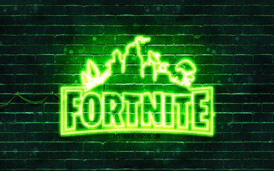 Fortnite green logo, 4k, green brickwall, Fortnite logo, 2020 games, Fortnite neon logo, Fortnite