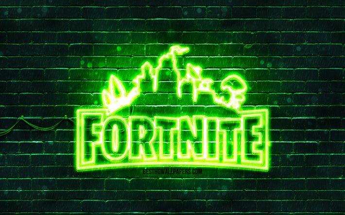 Download Wallpapers Fortnite Green Logo 4k Green Brickwall Fortnite Logo 2020 Games Fortnite Neon Logo Fortnite For Desktop Free Pictures For Desktop Free