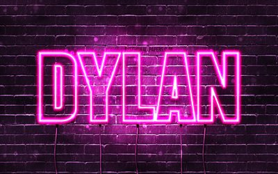 Dylan, 4k, wallpapers with names, female names, Dylan name, purple neon lights, horizontal text, picture with Dylan name
