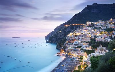 Positano, Salerno, evening, Mediterranean sea, coast, Italy, beautiful italian city, seascape, mountain landscape