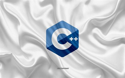 C++ logo, white silk texture, C++ emblem, programming language, C++, silk background