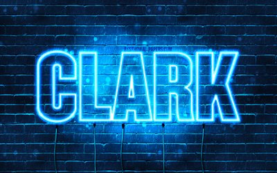 Clark, 4k, wallpapers with names, horizontal text, Clark name, blue neon lights, picture with Clark name