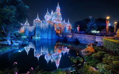 Disneyland, Sleeping Beauty Castle, Anaheim, USA, fairytale castle, Fantasyland, night, California