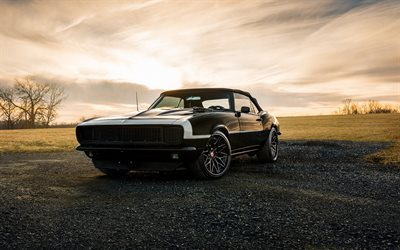 Chevrolet Camaro, 1968, retro coupe, black retro sports car, american retro cars, Chevrolet