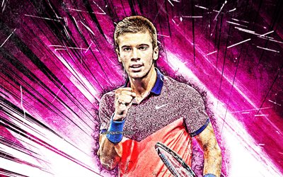Borna Coric, ATP grunge art, Croatian tennis players, purple abstract rays, tennis, Coric, fan art, Borna Coric 4K