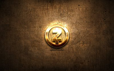 Zcash golden logotyp, cryptocurrency, brun metall bakgrund, kreativa, Zcash logotyp, cryptocurrency tecken, Zcash