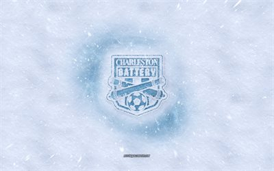 Charleston Battery logo, American soccer club, winter concepts, USL, Charleston Battery ice logo, snow texture, Charleston, South Carolina, USA, snow background, Charleston Battery, soccer