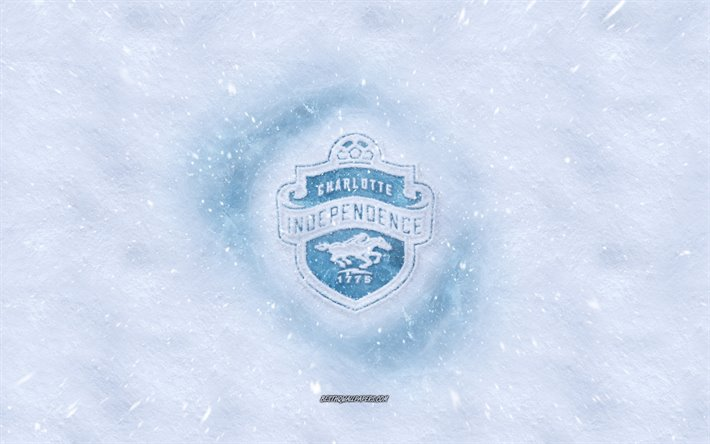 Charlotte Independence logo, American soccer club, winter concepts, USL, Charlotte Independence ice logo, snow texture, Charlotte, North Carolina, USA, snow background, Charlotte Independence, soccer