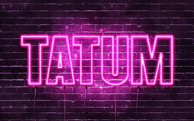 Tatum, 4k, wallpapers with names, female names, Tatum name, purple neon lights, horizontal text, picture with Tatum name