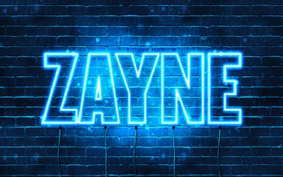 Zayne, 4k, wallpapers with names, horizontal text, Zayne name, blue neon lights, picture with Zayne name