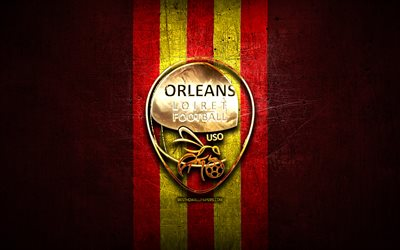Orleans FC, golden logo, Ligue 2, red metal background, football, US Orleans, french football club, Orleans logo, soccer, France