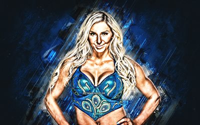 Charlotte Stil, amerikansk brottare, WWE, Ashley Elizabeth Fliehr, porträtt, blå sten bakgrund, USA, World Wrestling Entertainment