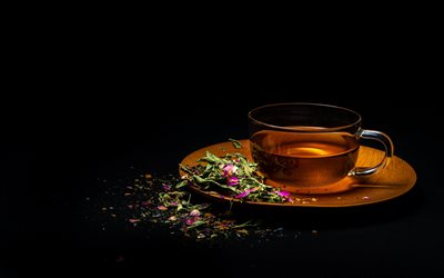 flower tea, black background, cup of tea, herbal tea, tea concepts