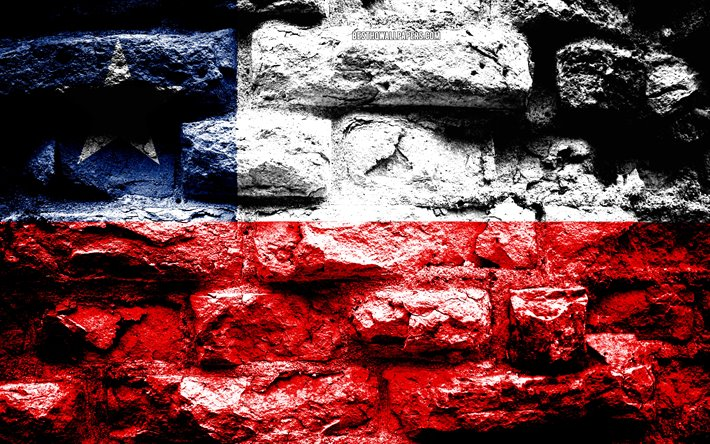 Chile flag, grunge brick texture, Flag of Chile, flag on brick wall, Chile, Europe, flags of South American countries