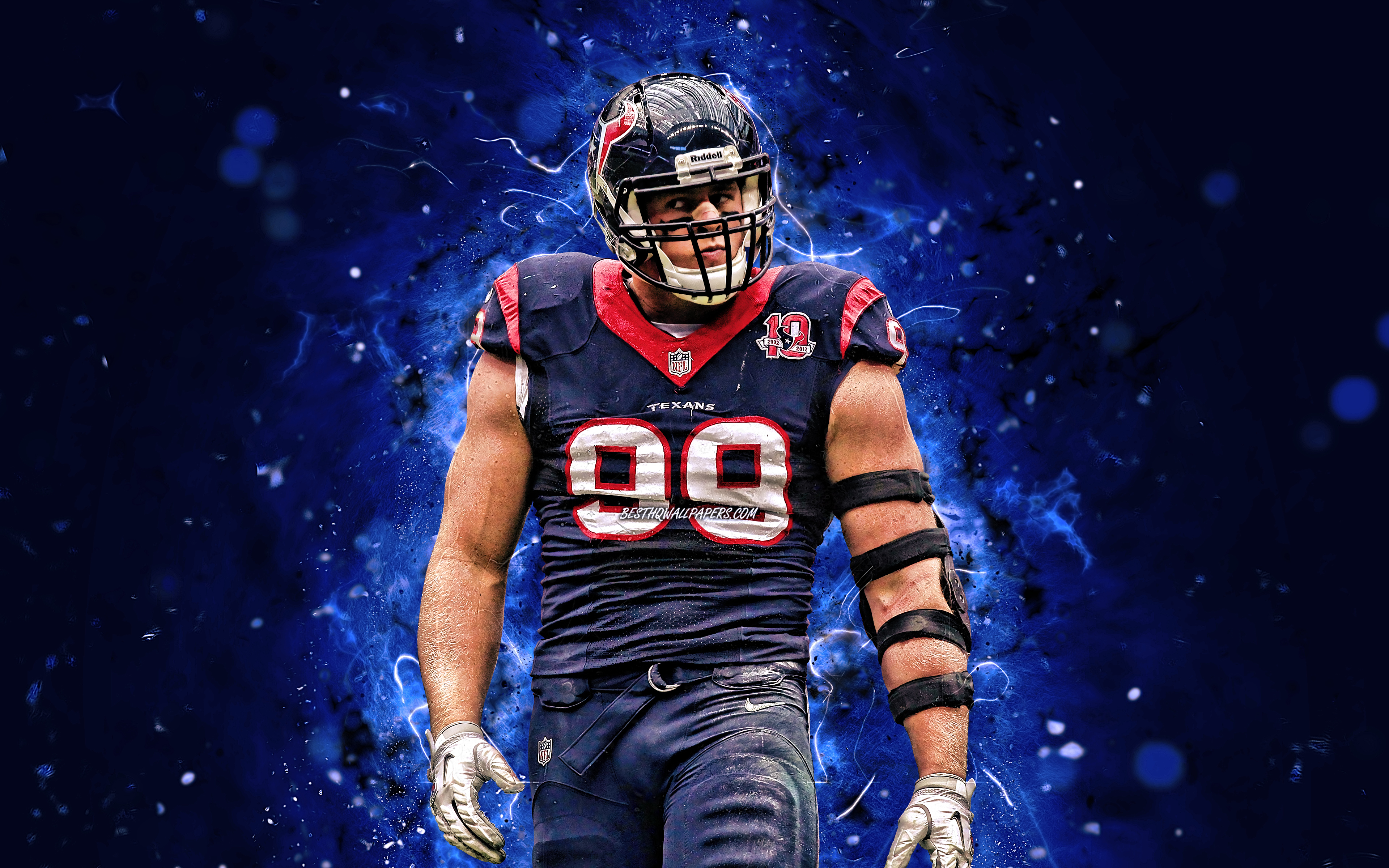Justin James Watt, 4k, difensore, Houston Texans, football americano, NFL, JJ Watt, National Football League, KC Chiefs, luci al neon, JJ Watt Houston Texans