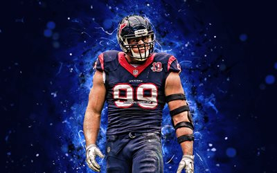 Justin James Watt, 4k, försvarare, Houston Texans, amerikansk fotboll, NFL, JJ Watt, National Football League, KC Chefer, neon lights, JJ Watt Houston Texans