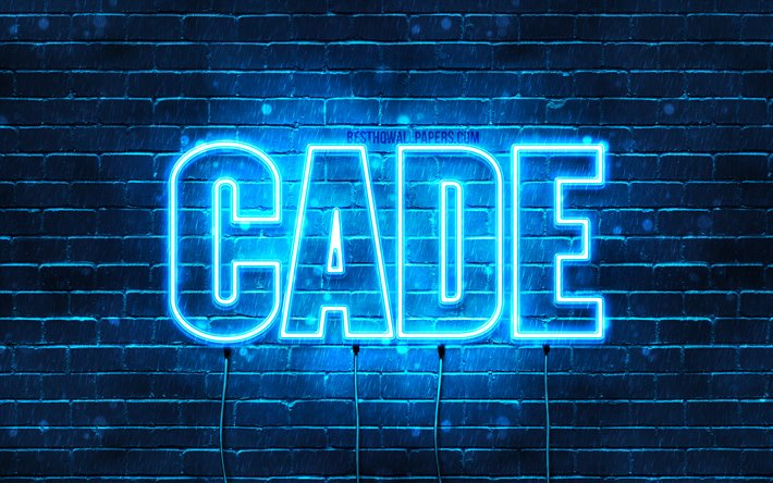 cade, 4k, tapeten, die mit namen, horizontaler text, cade namen, blue neon lights, bild mit namen cade