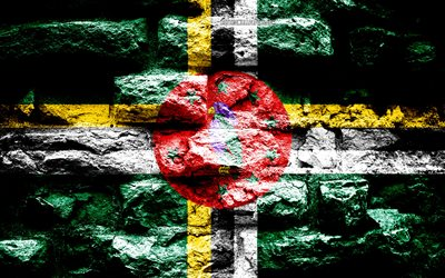 Dominica flag, grunge brick texture, Flag of Dominica, flag on brick wall, Dominica, Europe, flags of North America countries